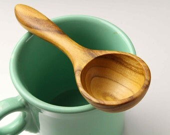 Wooden coffee measuring spoon handmade from salvaged Apricot wood 1 tablespoon