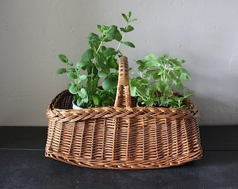 Pretty French Vintage Basket Hand Woven Unusual Shape