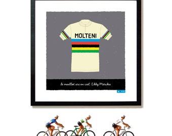 Bike Art Print, Tour de France, Eddy Merckx, Rainbow Jersey Print