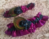 Peacock Wedding Garter Set - Violets in Purple and Teal with Peacock Feathers