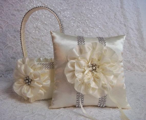 2 Ivory Flower Girl Baskets / Matching Ring Bearer Pillow / Rhinestone Mesh Handle Trim / Bling Flower Girl Basket / Bling Ring Pillow