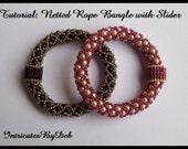 Tutorial Bead Netting Rope Slider Bangle Bracelet - Jewelry Beading Pattern, Beadweaving Instructions, PDF, Do It Yourself, How To
