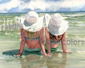"""Girl Friends, Sisters, Beach, Blue Bathing Suits, White Hats, Children Watercolor Painting Print, Wall Art, Home Decor, """"Seaside Sisters"""""""