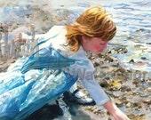 "Red Haired Beach Comber Girl Hunts Pebbles, Seashells on Seashore, Children Watercolor Painting Print, Wall Art, Home Decor, ""Full of Grace"""