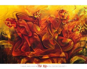 Yoga, Muladhara, Sanskrit, Root, Chakra, Strength, Spirit, Red, Orange, Yellow, Yogi, Namaste, Nude, Body, Figurative, Painting, Art