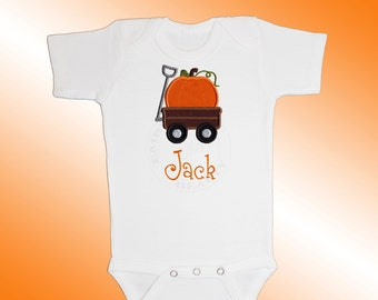 Bodysuit Baby Clothes - Personalized Applique - Pumpkin Wagon - Embroidered Short or Long Sleeved - Free Shipping