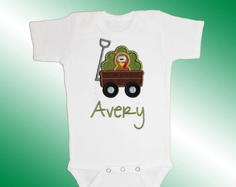 Thanksgiving Bodysuit Baby Clothes - Personalized Applique - Turkey Wagon - Embroidered Short or Long Sleeved - Free Shipping