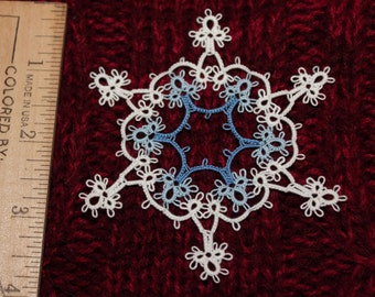 Tatted    SNOWFLAKE  in a SNOWFLAKE   Christmas Ornament, Tatting, Ready-made --- MY very own pattern