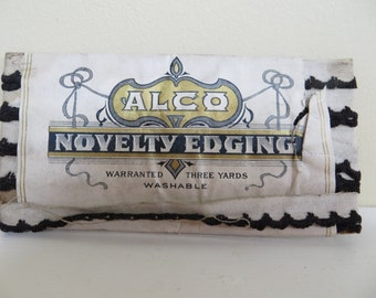 Vintage TRIM Supply Black edging on white In orig package ALCO Novelty Edging 3 yds