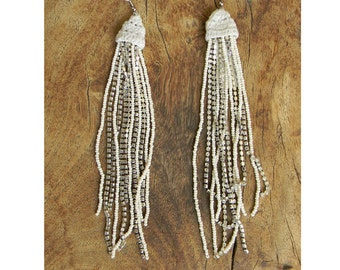 Vintage White Glass Bead and Rhinestone Crocheted Long Earrings INDIA
