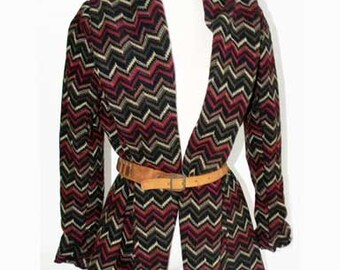 Vintage Chevron Sweater Woven Jacket Cardigan Chevron Zig Zag Pattern
