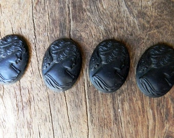 Antique 1920s Art Deco Jet Black Faceted Glass Intaglio Pieces Large