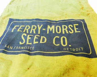 Vintage Bag Ferry-Morse Seed Co. San Francisco Detroit Bag Advertising 1930s