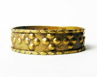 Vintage Wide Brass Bangle Bracelet 1960s