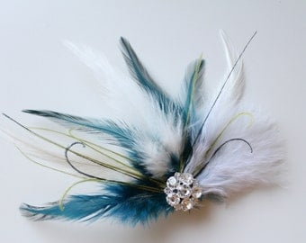 Wedding Bridal White Ivory Teal Turquoise Lime Green Black Feather Rhinestone Jewel Head Piece Hair Clip Fascinator READY TO SHIP
