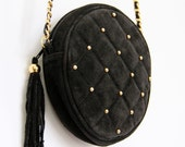 Quilted Leather Purse, Black Suede Chain Handle Bag Gold Studs tassel small circular round classic hipster preppy posh shoulder handbag