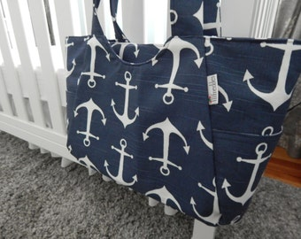 5 COLORS - Carry All Diaper Bag with Zip Top in Navy Anchors