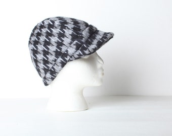 Vintage Women's Herringbone Jockey Hat, Driving Cap