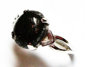 """Pyrite ring, pyrite cabochon, cabochon ring, pyrite, black ring, black, s 5 1/2 """"Black Silver"""""""