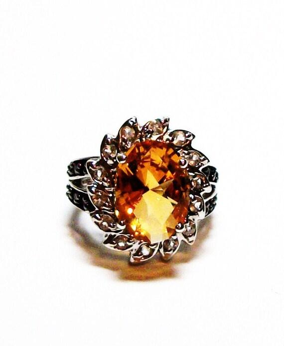 "Citrine ring,  november birthstone, birthstone ring, orange, cocktail ring,  s 6  ""John Treasured"""