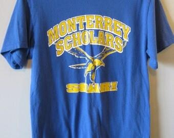 Vintage T-SHIRT Monterrey Scholars SOAR! Eagle 50/50 Men's Extra Small