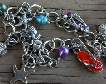 Beach Themed Charm Bracelet, Silver over Stainless Steel, Freshwater Pearls 8.5 inches long