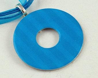 Handmade Upcycled Washer Necklace - Blue Damask