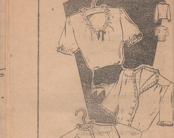 RARE 1930's Misses' Blouse Mail Order Pattern 2513 Size 16 Bust 34