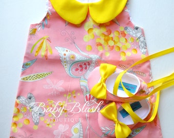 Pink Yellow Mimosa Retro A-line Dress Shoes Set  Infant Outfit Baby Shoes