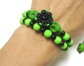 Sugar Skull Bracelet Earring Set Day Of The Dead Green Black Flower