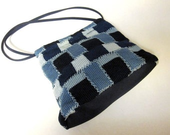 Patchwork Blue Purse Hobo Bag Tote Shoulderbag Sak Handbag