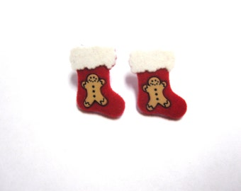 Red White Christmas Stocking Earrings Holiday Xmas Winter Stud Post