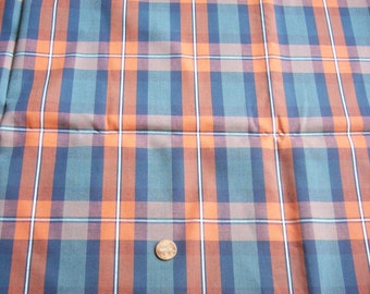 """4 Yards Vintage Woven Plaid Dress Fabric 45"""" wide New Old Never Used"""