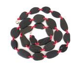Rock Necklace Mediterranean Long Beach Stone Necklace Rock Fiber Stone Jewelry Black Fushia DELLA MARE - CUSTOM Made