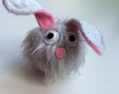 Baby Dust Bunny - Squeaky Dog Toy - Grey