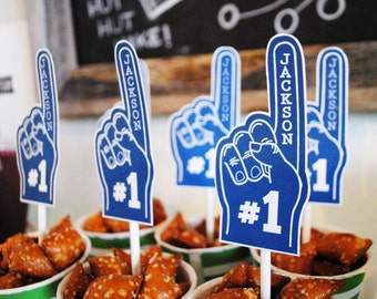 No. 1 Sports Fan Collection - blue or red PRINTABLE PARTY TOPPERS by Itsy Belle