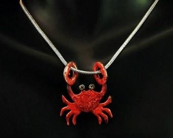 Sterling Silver/ Enamel Crab Necklace - Crimson
