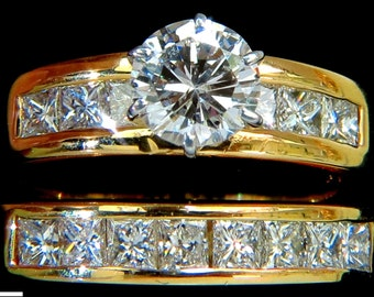 2.50CT Diamond Engagement Ring + Matching Band 14KT