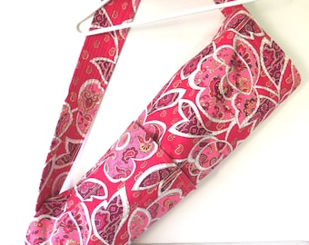 Extra Large Red and Pink Floral and Paisley Yoga Mat Bag
