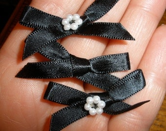 Black & Pearl Satin Bows, 38mm x 48 pieces, Tuxedo, Ribbon Bow Ties, Wedding, Embellish, Lingerie, Clothing, Scrapbooking, Craft