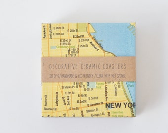 New York City Coasters Ceramic Tile Map Coasters Blue and Yellow Drink Coasters Gift for Him