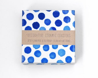 Blue Dots Ceramic Tile Coasters Watercolor Royal Blue on White Hostess Gift, set of 4