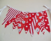 Banner Bunting in Reds and Whites Chevron, Polka Dots and Flowers