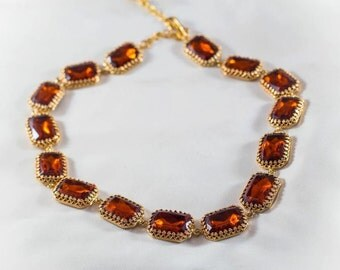 18th Century Necklace, Georgian Collet Necklace, Georgian Paste, 19th Century Jewelry, Jane Austen Jewelry, Riviere Necklace, Madiera Topaz