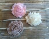 Set of 3 chiffon rosette flower headbands - baby headbands - infant headbands - pale pink - ivory - sand