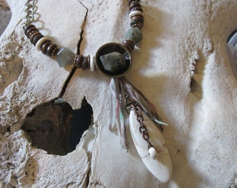 Assemblage Boho Necklace Upcycled Rustic Stone Jewelry Repurposed Necklace Ooak