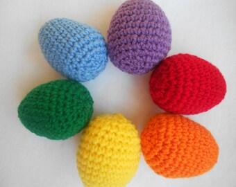 Set of 6 crochet Easter eggs - rainbow colors