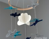 100% Merino Wool Felt Nursery Mobile - Eco-Friendly - Rich, Lightfast Colors - Heirloom Quality - Navy, Teal and Gray Airplanes