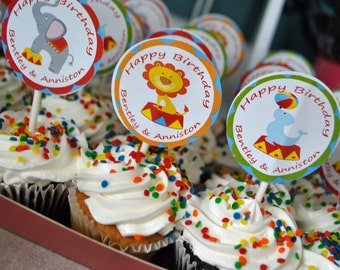 Circus Party Cupcake Topper, Favor Tags, Party Circles Printable - Under the Big Top Collection