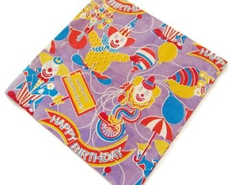 Vintage Wrapping Paper - Clown Joy Birthday - One Sheet Gift Wrap